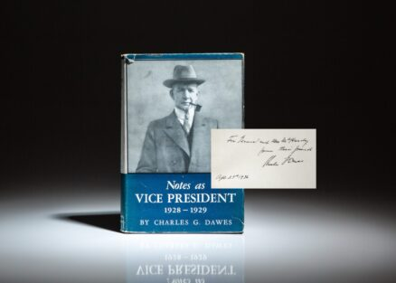 The memoirs of Vice President Charles G. Dawes, Notes as Vice President: 1928-1929, inscribed to General Alexander A. McHardy of the British Army.