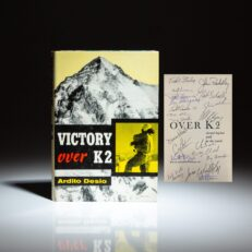 Signed first edition of Victory Over K2 by Ardito Desio, with signatures of 24 members of various K2 expeditions.