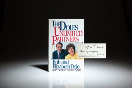 Signed first edition of The Doles: Unlimited Partners, by Senators Bob Dole and Elizabeth Dole.