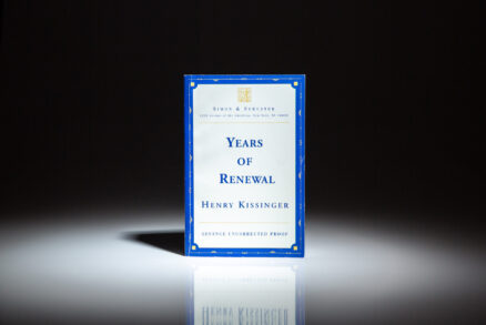Advance Uncorrected Proof copy of Years of Renewal, by Henry Kissinger.