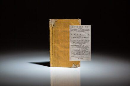 First Dutch translation of Marquette's Découverte de quelques pays et nations de l'Amerique septentrionale in Thevenot's Recueil de voyages, first published 1681 in Paris.