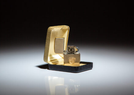 White House Zippo Lighter, a gift from President Richard Nixon. Presidential seal on side panel, in gold.