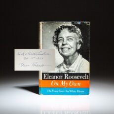 Signed first edition of On My Own by Eleanor Roosevelt.