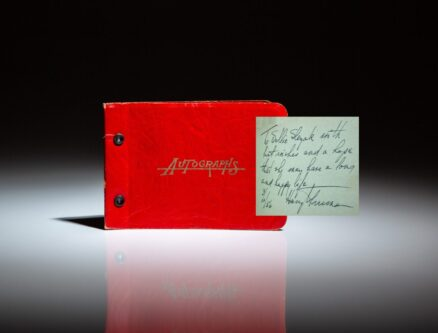 Autograph book signed by President Harry S. Truman in Kansas City, along with other celebrities.