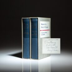 Limited edition of the Memoirs of Harry Truman, in slipcases, inscribed to American historian and author, Thomas Fleming.