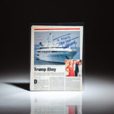 """Signed by Donald Trump, Newsweek magazine article titled """"Trump Ahoy"""" by Bill Barol."""