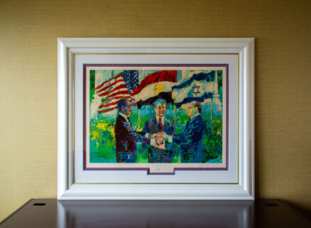 Limited edition serigraph by LeRoy Neiman, White House Signing of Egyptian-Israeli Peace Treaty, signed by the artist and President Jimmy Carter.