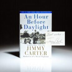 Signed first edition of An Hour Before Daylight by Jimmy Carter.