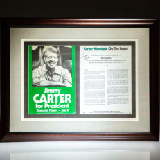 Campaign flyer titled Jimmy Carter for President and Carter's Democratic nomination speech, both published in 1976, framed and signed by President Jimmy Carter.
