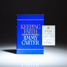 First edition of Keeping Faith by President Jimmy Carter, inscribed to his brother, Billy Carter, and his wife, Sybil.