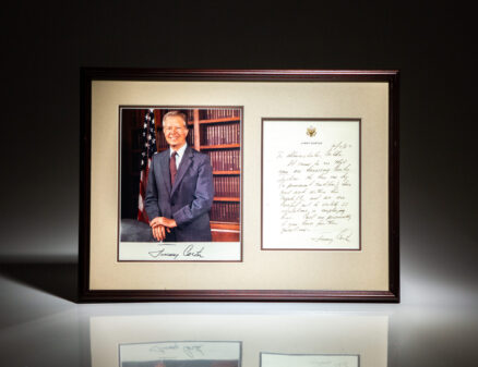 Letter from former President Jimmy Carter to the Social Security Administrator of Cordele, Georgia, asking him to stop harassing his employee. This employee, Curtis Jackson, is featured in two of President Carter's books.