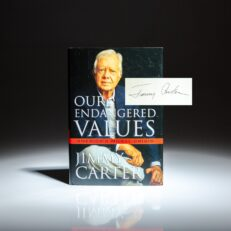 First edition of Our Endangered Values by President Jimmy Carter, signed by the author.