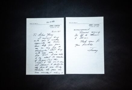 Handwritten letter from Governor Jimmy Carter to Georgia Representative Andrew Young, while Carter was building a national base to launch a presidential run.