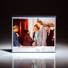 White House Photograph of President Carter meeting American soprano and founder of the Harlem School of the Arts, Dorothy Maynor.