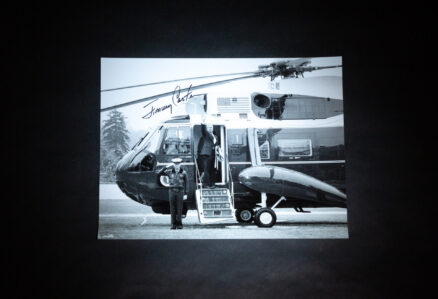Signed photograph of President Jimmy Carter boarding Marine One on January 16th, 1981, his last trip to Camp David before the inauguration of Ronald Reagan.