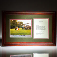 White House letter from President Jimmy Carter to Senator Howard H. Baker Jr., framed and matted, with signed photograph of President Carter and First Lady Rosalynn Carter.