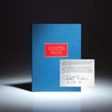 Signed copy of the Inaugural Address of President Richard Nixon, delivered on January 20th, 1969.