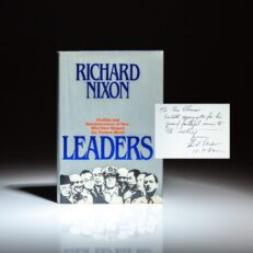 First edition of Leaders by Richard Nixon, inscribed to California Congressman Donald H. Clausen.