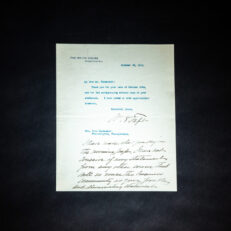 Personalized letter from William Howard Taft, President of the United States, thanking political supporter, vice presidential contender and Philadelphia merchant Mr. John Wanamaker.