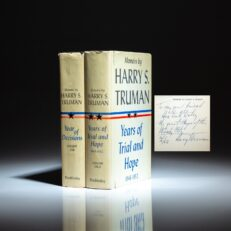 Signed first edition of the Memoirs of Harry S. Truman, inscribed to Chicago Mayor, Richard J. Daley.