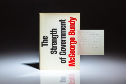 Association copy between the chief architects of the Vietnam War. First edition of The Strength of Government by National Security Advisor McGeorge Bundy, inscribed to the Secretary of Defense Robert McNamara.
