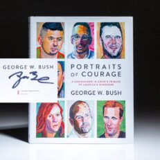 Signed by President George W. Bush, Portraits of Courage: A Commander in Chief's Tribute to America's Warriors.
