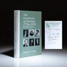 Signed by five former governors of Georgia, including Jimmy Carter, Zell Miller, Joe Frank Harris, George D. Busbee and Carl E. Sanders, this is a history of the governors of Georgia by James F. Cook.