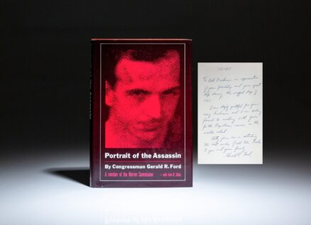 First edition of Portrait of the Assassin, inscribed by Gerald R. Ford to fellow Congressman, Bill Dickinson of Alabama.