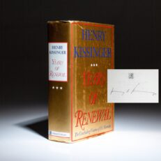 First edition of Years of Renewal, signed by Henry Kissinger.