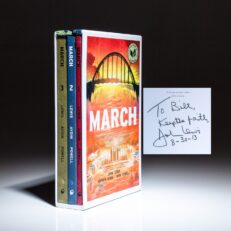 Signed by John Lewis, March, a graphic novel trilogy, by Congressman John Lewis and Andrew Aydin, illustrated by Nate Powell.