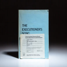 Uncorrected advance proof of The Executioner's Song, a Pulitzer Prize-winning true crime novel by Norman Mailer.