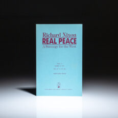 Unrevised proof copy of Real Peace: A Strategy for the West by President Richard Nixon. Contains an unpublished epilogue related to Korean Air Lines Flight 007, which was shot down by the Soviets in September 1983.
