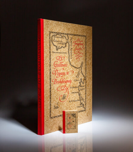From the Limited Editions Club, A Voyage to Brobdingnag by Jonathan Swift, signed by the designer, Bruce Rogers.