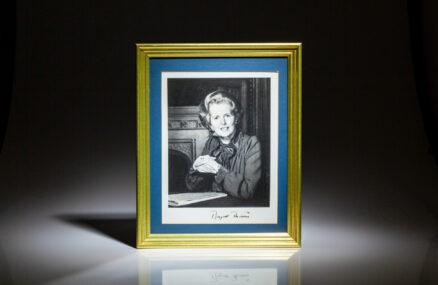 Signed portrait of Prime Minister Margaret Thatcher. Photograph was taken in 1977 by Bern Schwartz.