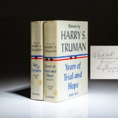 Signed first edition of Memoirs by Harry S. Truman, inscribed and dated in both volumes.