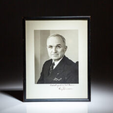Signed photograph of President Harry S. Truman from 1946, with associated letter from his Appointments Secretary, Matthew J. Connelly, on White House stationery.