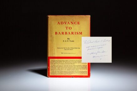 Inscribed by controversial historian and college professor, Harry Elmer Barnes, to the legendary aviator, Charles A. Lindbergh, Advance to Barbarism by F.J.P. Veale.