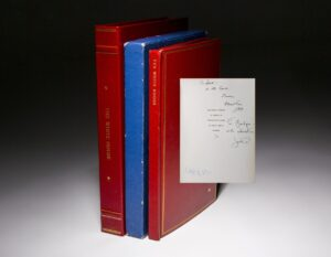 Signed limited edition of The White House: An Historic Guide, inscribed to Joe Kennedy, Sr. The book is inscribed by President John F. Kennedy, First Lady Jackie Kennedy, and Caroline Kennedy.