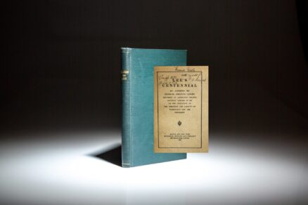 Signed by Charles Francis Adams, two bound pamphlets, Lee's Centennial: An Address (1907) and An Address at the Opening of the Fenway Building (1899).