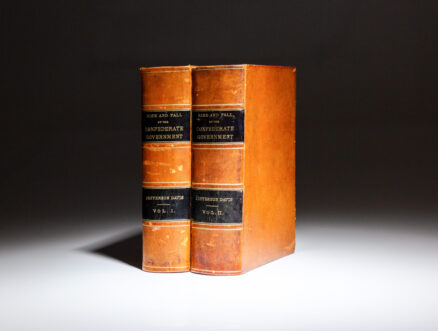 First edition of The Rise and Fall of the Confederate Government by Jefferson Davis, published in 1881, in full morocco binding.
