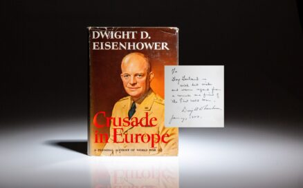 First edition of Crusade in Europe by Dwight D. Eisenhower, inscribed to his friend and WWI comrade, G. Gray Garland.