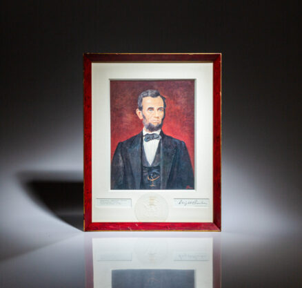 The White House Christmas Card from 1953, with a reproduction of President Dwight D. Eisenhower's portrait of Abraham Lincoln.