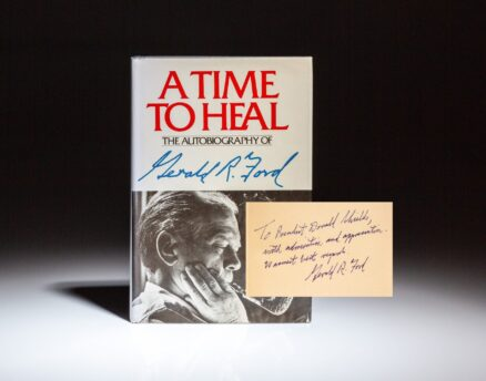 Signed first edition of A Time to Heal by Gerald R. Ford, inscribed to L. Donald Shields, former President of Cal State Fullerton and Southern Methodist University.