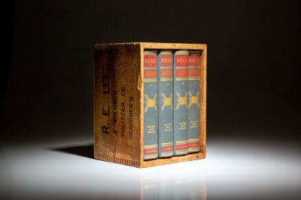 The Pulitzer Prize edition of R.E. Lee: A Biography by Douglas Southall Freeman, in the publisher's shipping crate.
