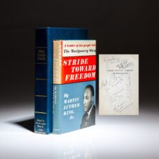 Signed first edition of Stride Toward Freedom: The Montgomery Story by Martin Luther King, Jr., with an incredible collection of signatures, including the author, Martin Luther King Jr., Coretta Scott King, Jesse Jackson, Benjamin E. Mays, Rev. O. Clay Maxwell, Roy Wilkins and Lucie E. Campbell.