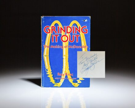 First edition of Grinding It Out: The Making of McDonald's, signed by Ray Kroc to former MLB baseball player Thomas P. Mulcahy of the Pittsburgh Pirates.