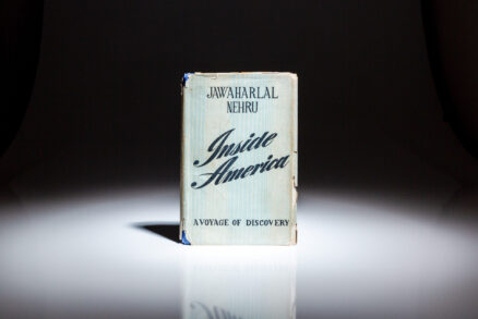 First edition of Inside America: A Voyage of Discovery by Indian Prime Minister Jawaharlal Nehru, detailing his trip to North America in 1949.