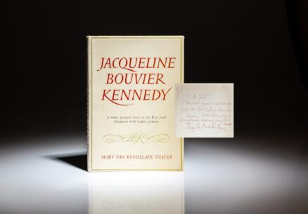 Inscribed to Chief Usher of the White House, J.B. West, first edition of Jacqueline Bouvier Kennedy by Mary Van Rensselaer Thayer.