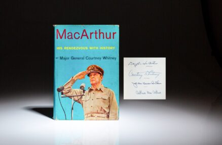 First edition of MacArthur: His Rendezvous with History by Major General Courtney Whitney, signed by General Douglas MacArthur, Jean MacArthur, Courtney Whitney and Arthur MacArthur IV.