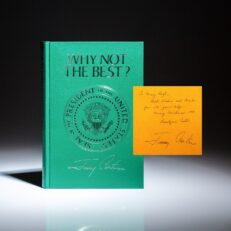 Inscribed to White House Press Secretary Mary Finch Hoyt, deluxe Presidential Edition of Why Not The Best?, signed by President Carter and First Lady Rosalynn Carter.